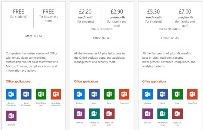 microsoft office education and student options