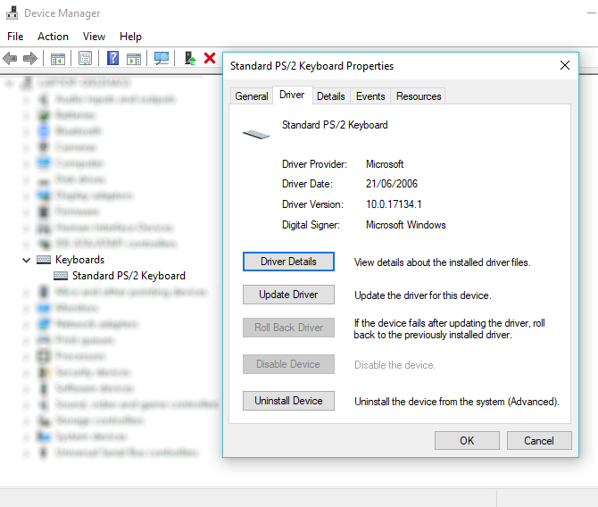 Update Windows driver to repair a laptop keyboard