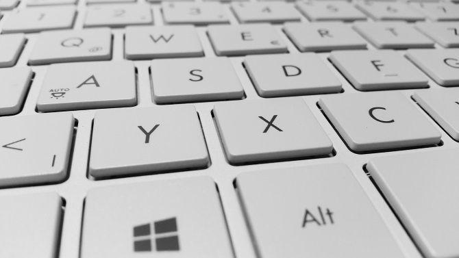 A Windows laptop keyboard