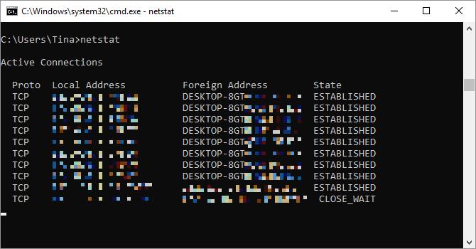 Comando Netstat eseguito su Windows.
