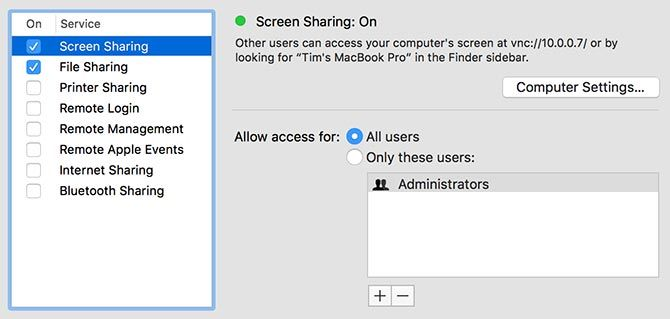macOS Sharing Preferences
