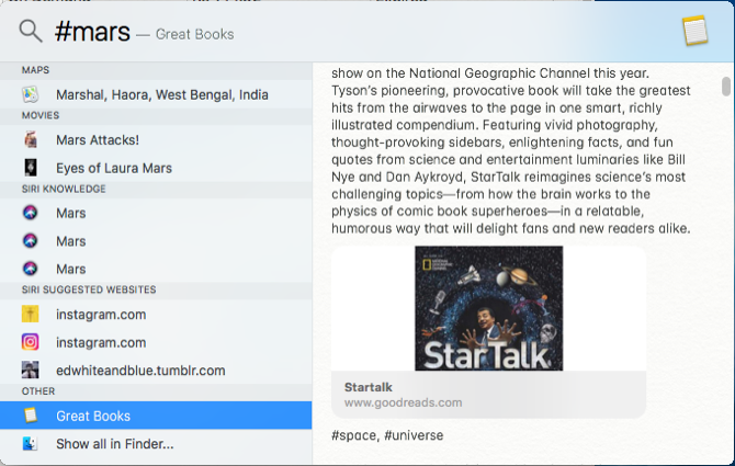 search Apple Notes tags with spotlight on mac