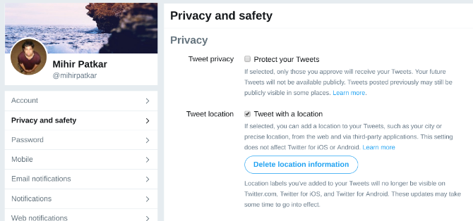 enable location services to search twitter by places