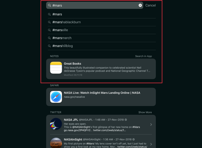 searching tags in apple notes for ios