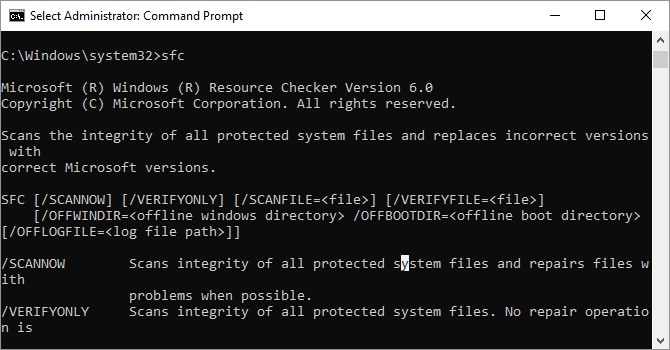 System File Checker sfc command
