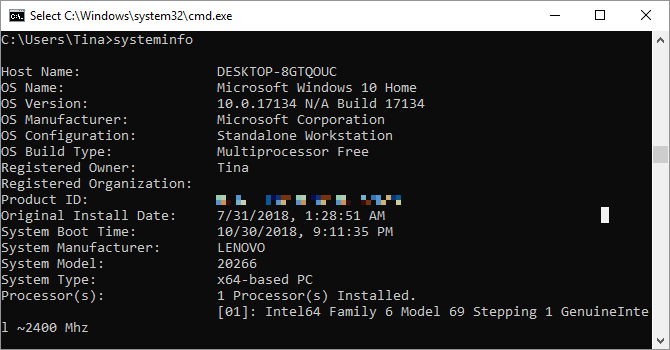 Comando Systeminfo come visto su Windows 10.