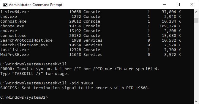 Opzioni di comando Taskkill disponibili su Windows 10.