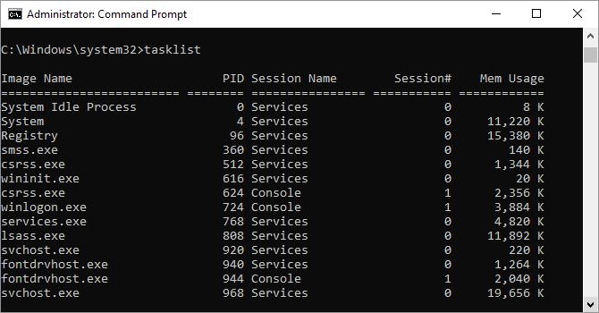 Comando Tasklist come mostrato nella finestra del prompt dei comandi di Windows.