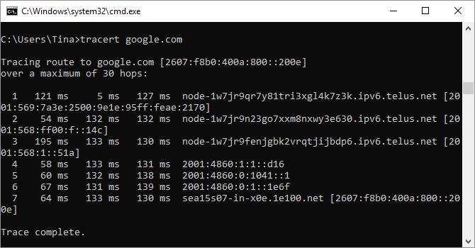 Screenshot del comando Tracert nel prompt dei comandi di Windows.