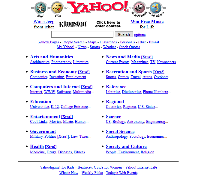 A screenshot of Yahoo in 1997