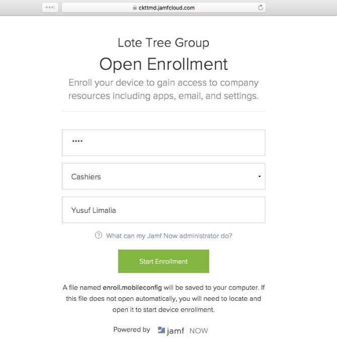 jamf now apple devices open enrollment