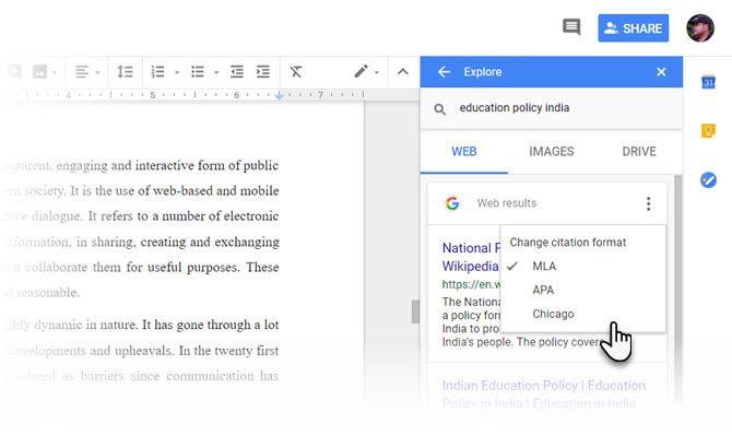 Explora y cita en Google Docs