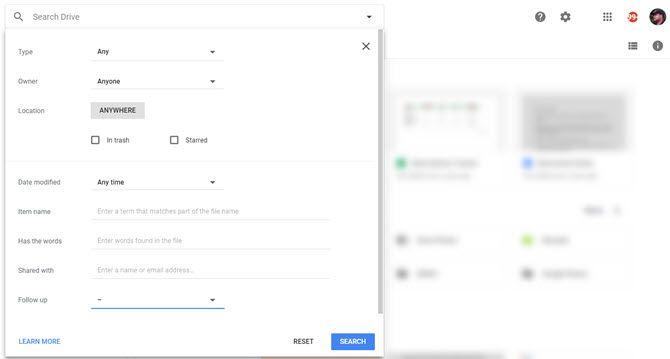 Filtros de búsqueda de Google Drive