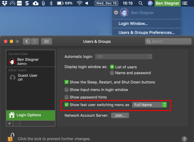 Mac Fast User Switching