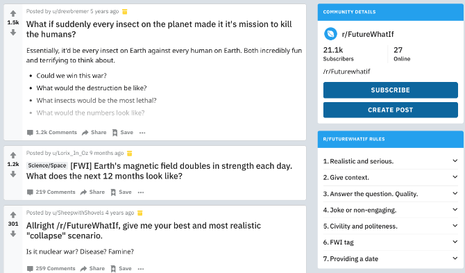 r/FutureWhatIf has hypothetical discussions about the future