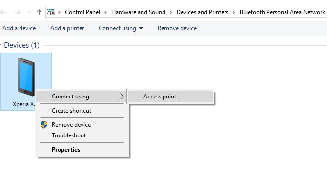 Connect to an Android tethering access point via Bluetooth in Windows 10