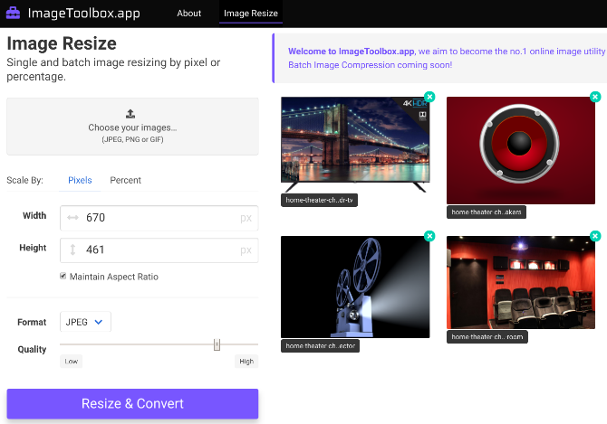 Image Toolbox lets you batch resize images and convert them