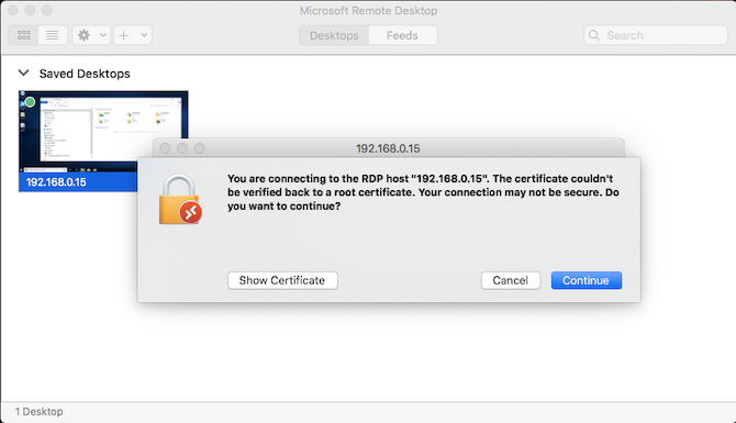 certificate warning remote desktop mac