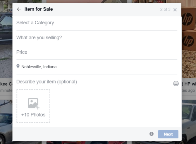 facebook marketplace form