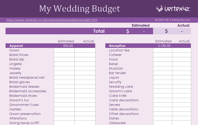 wedding budget free spreadsheet