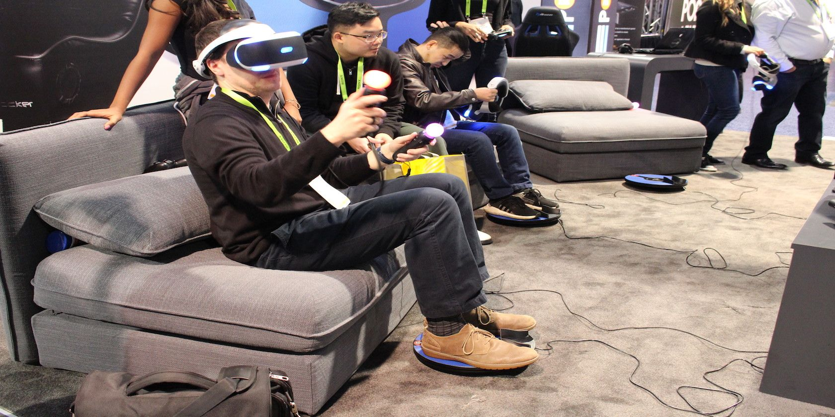 Photograph of Ben Stegner trying 3dRudder PS VR