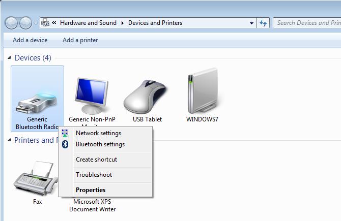 Windows 7 Bluetooth