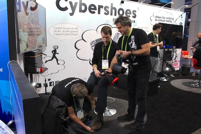 Photograph of Ben Stegner getting set up with Cybershoes