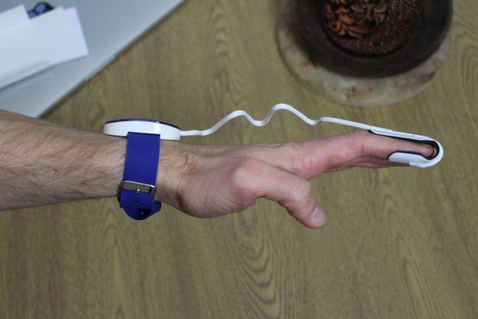 Photo of EverSleep on wrist from side