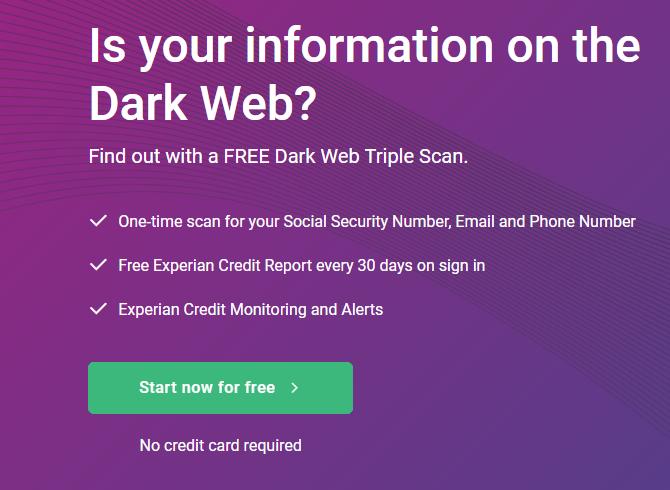 Experian Dark Web Scan Info Page