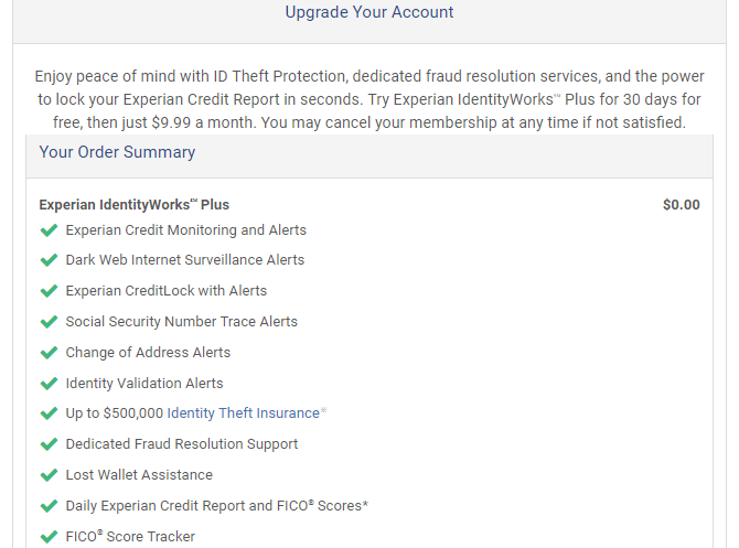 Experian Paid Account Upgrade
