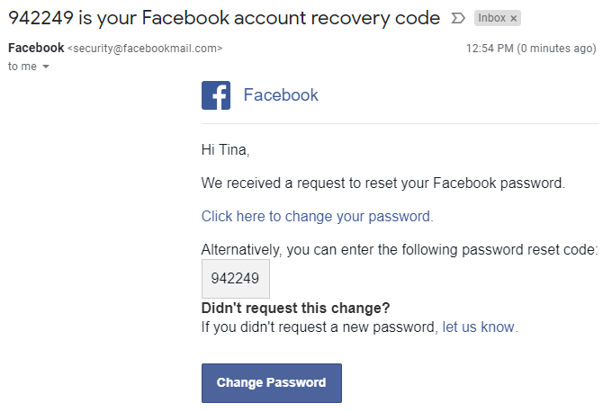 Facebook Account Recovery Code Email