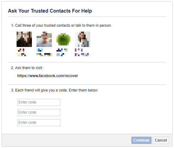 Ask trusted contacts for help to recover Facebook account.