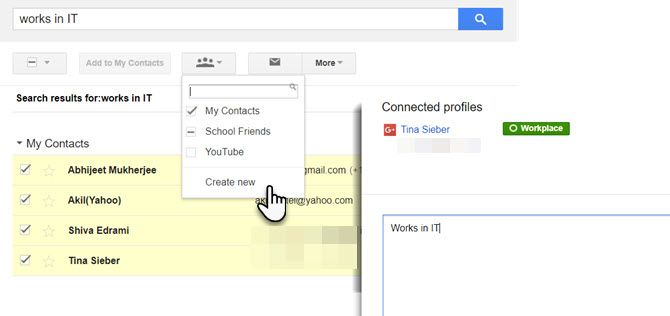 Use search to create a Gmail Group quickly.