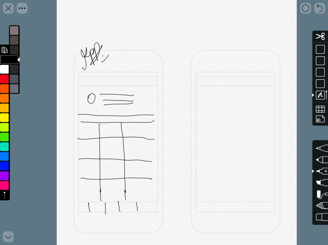 Schizzo del prototipo di App Linea Schizzo