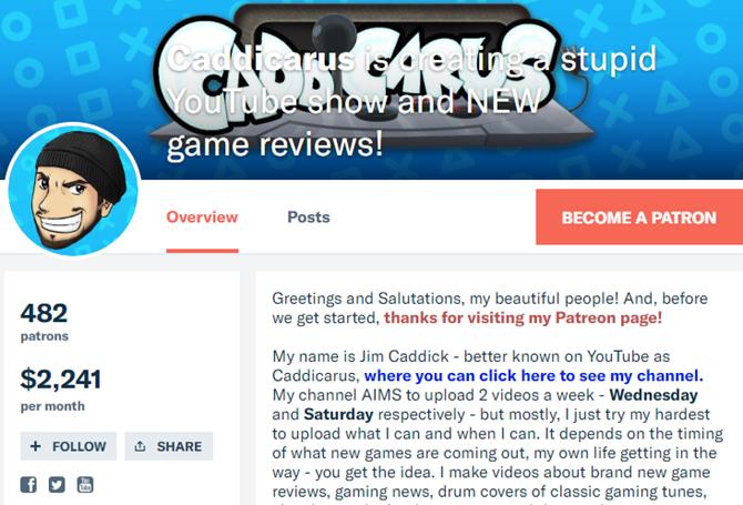 Patreon Caddicarus Домашняя страница