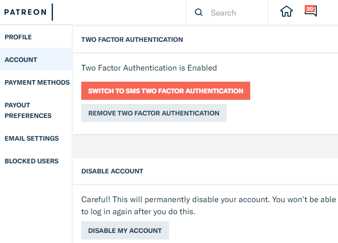Patreon Disable Account