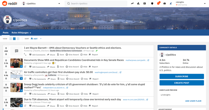 Reddit Politics Screenshot