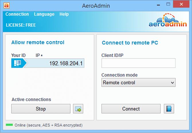 aeroadmin connect screen