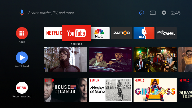 android tv home screen layout