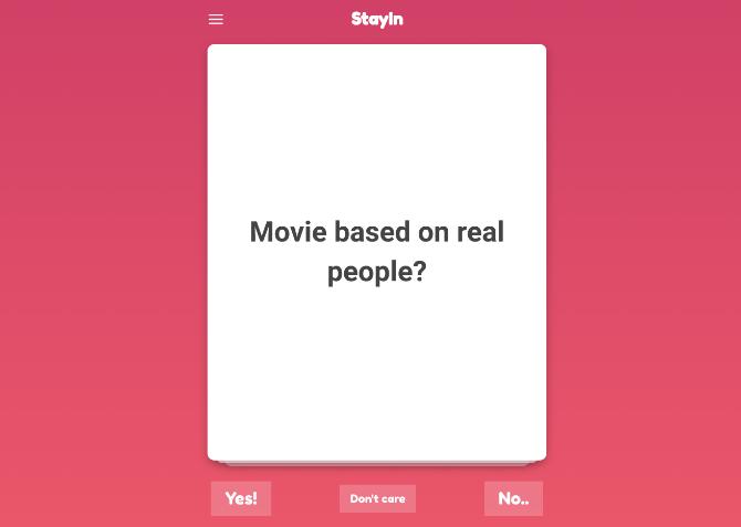 اعثر على الأفلام لمشاهدتها بسرعة مع StayIn واستبيان Tinder-like