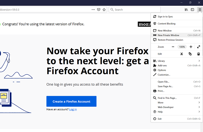 firefox dropdown menu private browser mode