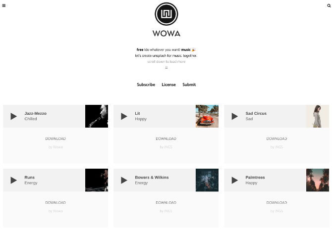 WOWA is the unsplash for music
