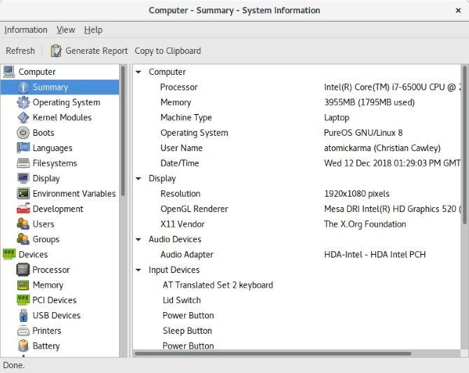 System spec on Librem 13