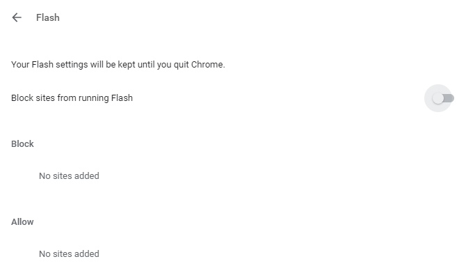 Change Flash settings in Chrome
