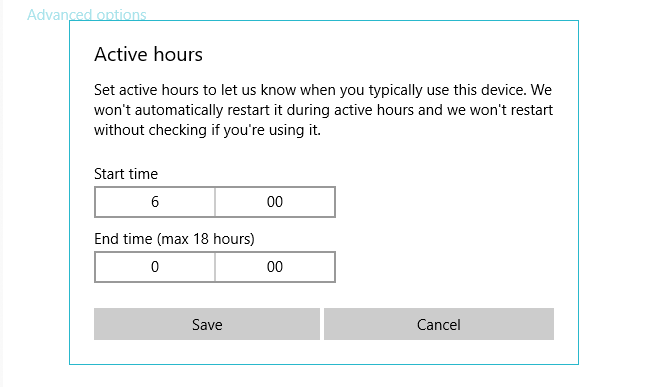 Use active hours scheduling to optimize Windows 10