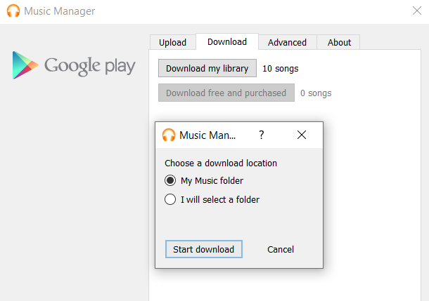 google music manager download page