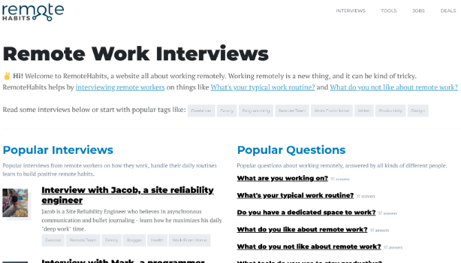 Remote Habits interviews successful remote workers for their productivity tips
