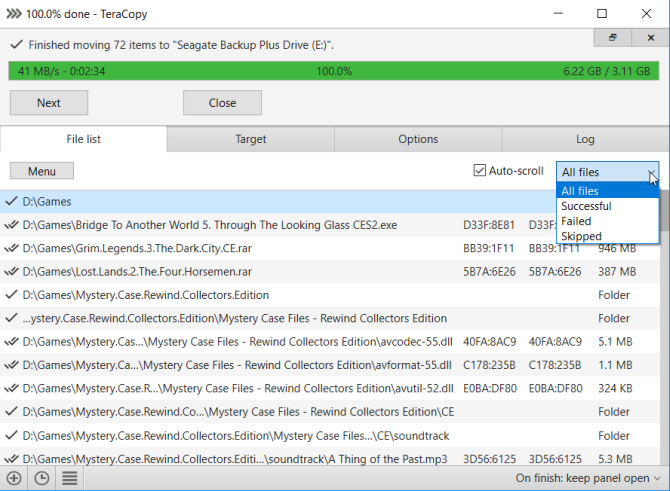 teracopy makes file copying process fast