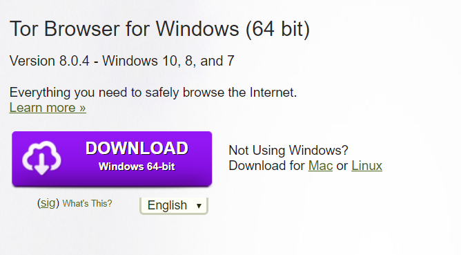 TOR browser official download page