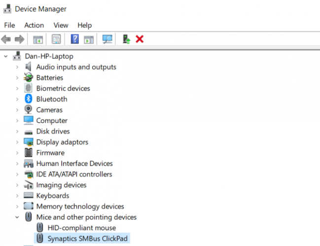 Update mouse drivers: Windows 10 device manager screen